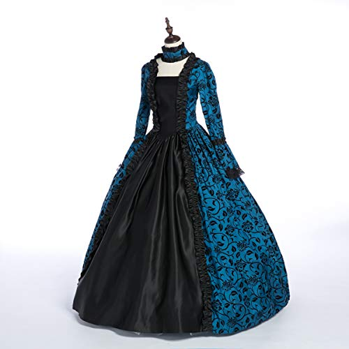 (CountryWomen Renaissance Gothic Dark Queen Dress Ball Gown Steampunk Vampire Halloween Costume (L, Blue and)