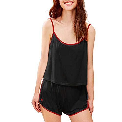 Bravetoshop Women Sleepwear Sleeveless Strap Nightwear Lace Trim Satin Cami Top Pajama Home Sets(Black,S)
