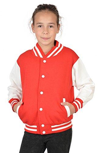 USA Mädchen Collegejacke in rot - Horde schwarzer Hengst - Kinder Schul Jacke mit Motiv Pferd - Geschenk, Kinder Größe:M / 128