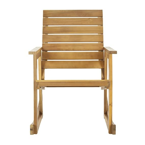 Safavieh Outdoor Collection Alexei Natural Brown Rocking Chair - Collection:Fox Color:TEAK Construction:GALVANISED STEEL; ACACIA WOOD - patio-furniture, patio-chairs, patio - 418LMvbMbFL. SS570  -