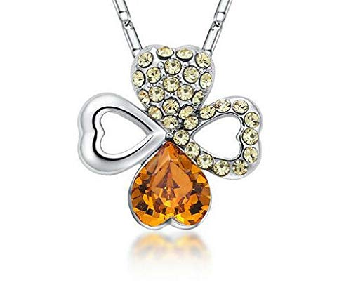 Fashion Women Amber Crystal Rhinestone Heart Silver Chain Pendant Necklace Hot пјЃ