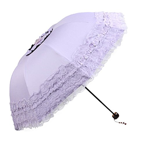 Meiyiu Foldable Rain and Anti-UV Folding Parasol Lace Thirty Percent Sun Umbrella - At Galleria Louis