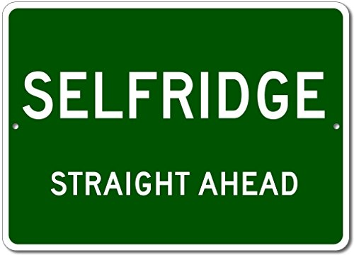 Custom Aluminum Sign - SELFRIDGE, NORTH DAKOTA US City Straight Ahead Sign - Green - - Sign Selfridges