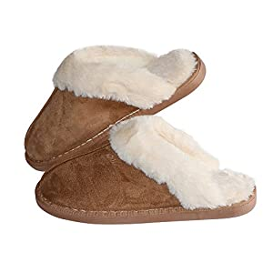 418LNtiaZML. AA300  - Women's Comfort Memory Foam Slippers Wool-Like Plush Fleece Lined House Shoes w/Indoor, Outdoor Anti-Skid Rubber Sole (Medium/7-8 B(M) US, Black)