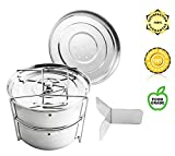 Stackable Steamer Insert Pans - Urban Supply's Premium Instant Pot Steamer with Y-shaped Divider & Interchangeable lids for Instant Pot 6,8 quarts & Pressure Cooker - Pot in Pot - FREE eBook included
