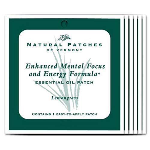 Natural Patches Of Vermont Lemongrass Mental Focus & Energy Essential Oil Body Patches, Single Patch Pouch, Units (Pack of 6) ()