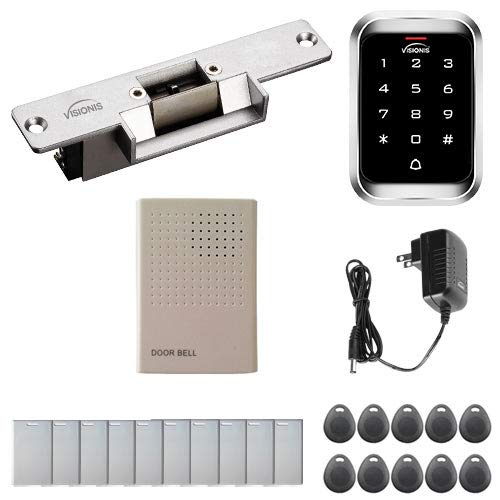 Visionis FPC-5348 One Door Access Control with Normaly Closed Electric Strike with VIS-3000 Outdoor IP68 Keypad/Reader EM Mifare Compatible Standalone No Software 2000 Users Kit