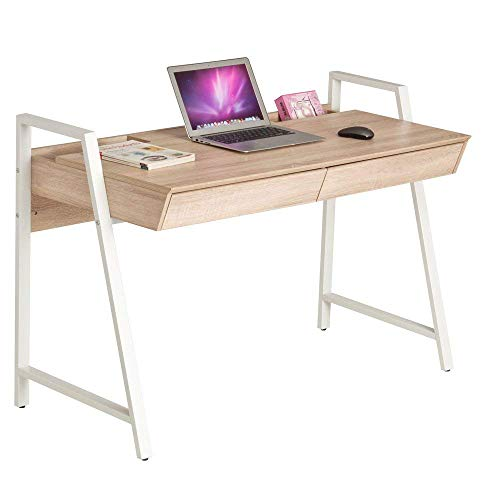 """Dporticus 50""""Modern Computer Desk with Drawers Large Home & 0ffice Workstation PC Laptop Table Oak and White ()"""