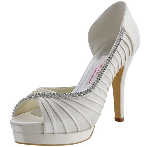 (ElegantPark EP11064 Women High Heel Pumps Platform Peep Toe D'Orsay Pleated Satin Bridal Wedding Shoes Ivory US 8)
