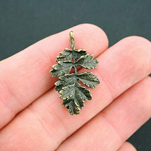 Extensive Collection of Charm 6 Oak Leaf Charms Antique Bronze Tone 2 Sided with Great Detail - BC319 Express Yourself
