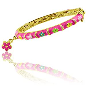 Enamel Bangle Bracelets With Flower Charm Best Gifts 18k Gold Plated Fashion Jewelry For Girls