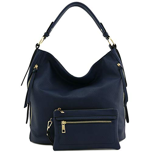 - 2pc Set Faux Leather Large Hobo Bag with Pouch Purse Navy