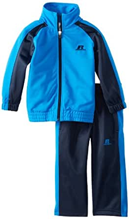 Russell Athletic Little Boys' Colorblock Tricot Track Set, Blue/Dark Navy, 2/Toddler