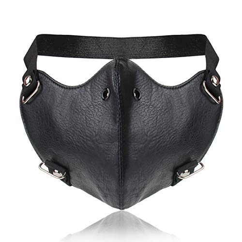 Yes I am PU Leather Sports Half Face Punk Cosplay Wind Protective Motorcycle Anti-Dust Mask (Black-1) ()