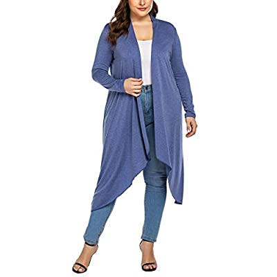 IN'VOLAND Women's Plus Size Cardigan Long Sleeve Open Front Drape Cardigans Lightweight Long Duster at Women's Clothing store