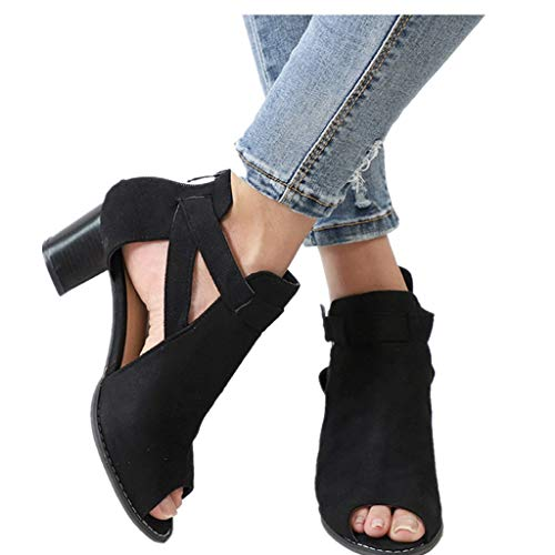 - Cenglings Women Plus Size Fish Mouth Sandals Open Toe Hollow Out Roma Shoes Low Chunky Heel Sandals Ankle Strap Shoes Black