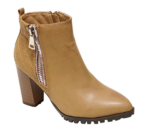 (Bella Marie Carly-22 Women's pointy toe double side zip quilted back chunky heel high top PU booties Tan 6.5)