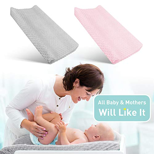 Babebay Changing Pad Cover - Ultra Soft Minky Dots Plush Changing Table Covers Breathable Changing Table Sheets Wipeable Changing Pad Covers Suit for Baby Boy and Baby Girl (Pink & Lt Gray)