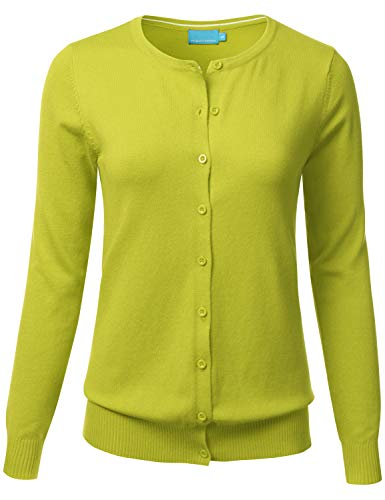 FLORIA Women's Button Down Crew Neck Long Sleeve Soft Knit Cardigan Sweater Lime S ()