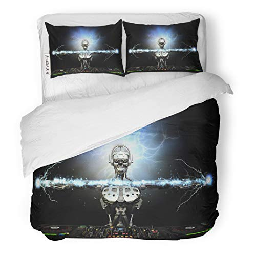Semtomn Decor Duvet Cover Set King Size Electro Robot Dj Spinning Cds and Mixing Producing Electric 3 Piece Brushed Microfiber Fabric Print Bedding Set Cover ()