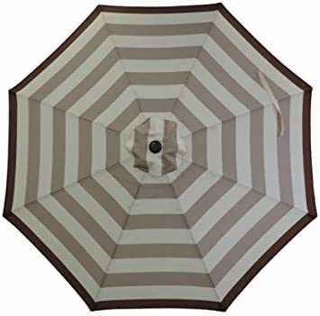 Pebble Lane Living 9 Premium Tan Tilting Striped Patio Market Umbrella with Powder Coated Aluminum Bronze Pole with Crank Open and Close