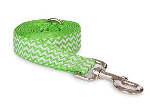 fabdog Chevron Stripe Dog Lead, Eco-Friendly Dog Leash (Green, Small)