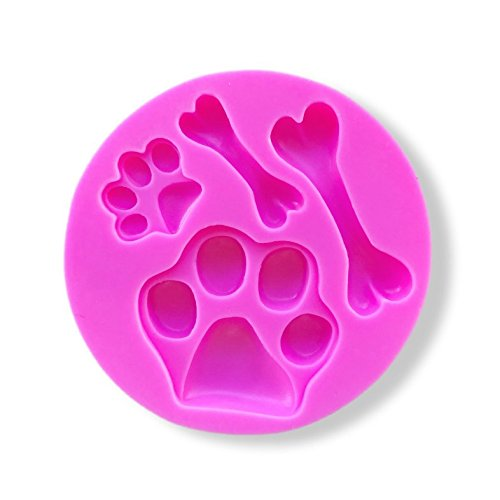 (Dog / Puppy Paw Print and Bone Print Silicone Mold - Custom Silicone Mold from Bakell)