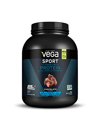 Vega Sport Protein Powder Chocolate (45 Servings, 4 lb 5.9oz) - Plant Based Vegan Protein Powder, BCAAs, Amino Acid, Tart Cherry, Non Dairy, Keto-Friendly, Gluten Free,  Non GMO (Packaging May Vary)