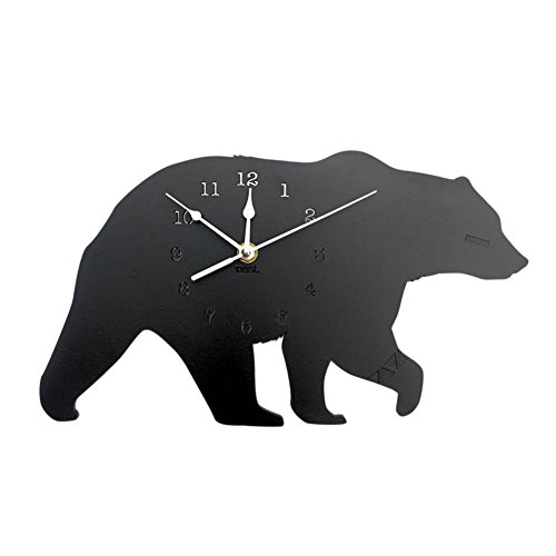ink2055 Nordic Style Lovely Polar Bear Wooden Mute Wall Clock Living Room Bedroom Home Decoration - Black -