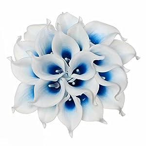 Celine lin Calla Lily Bridal Wedding Party Decor Bouquet PU Real Touch Flower Artificial Flowers(10 PCS, White Blue)