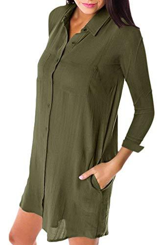 L Manches Longues FuweiEncore T Vert Manches Shirt avec Poche Taille Noir color Longues qXXPESrOw
