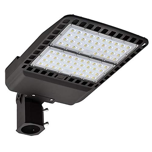 LEDwholesalers 150W LED Parking Lot Low Profile Shoebox Area Security Light with Swivel Mounting Arm, ETL-Listed, Daylight 5000K, 3939WH