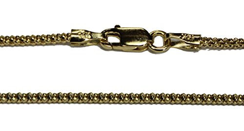 14k 14kt Solid Yellow Gold 1.6mm Popcorn Chain 16
