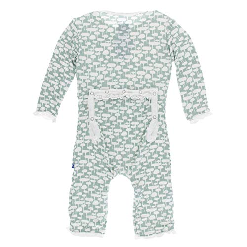 Kickee Pants Little Girls Print Muffin Ruffle Coverall Snaps - Jade Mushrooms, 0-3 Months (Pants Jade Girls)