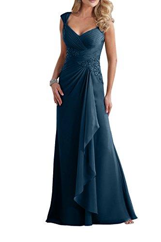 Brau V Etuikleider Abendkleider mit Blau Spitze Promkleider Navy mia Langes Damen Brautmutterkleider Ausschnitt La awCq15f