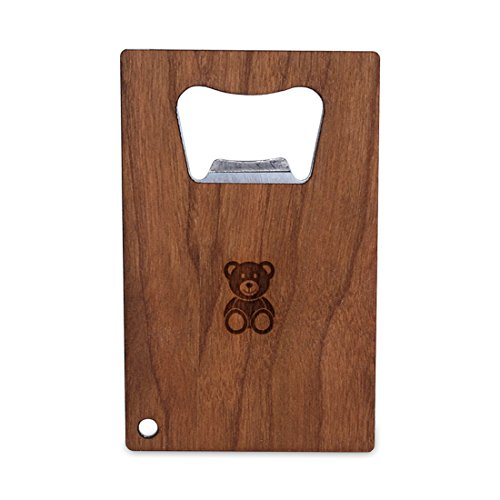 (WOODEN ACCESSORIES COMPANY Credit Card Sized Bottle Opener With Laser Engraved Teddy Bear Design- Stainless Steel Bottle Opener With Wooden Front Panel - Slim And Wallet Size)