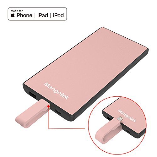 Power Bank Portable Charger,Mangotek Slim External Battery Pack 5000mAh battery bank built in Lightning Cable/USB/Micro USB Ports for iPhone X/8/8 Plus,iPad ,Samsung Galaxy S9/S9+/S8/Note 8 (iPhone power bank)(MFI Certified)