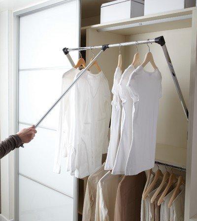 Pull Down Extendable Wardrobe Hanging Rail Black/Chrome 2 Sizes