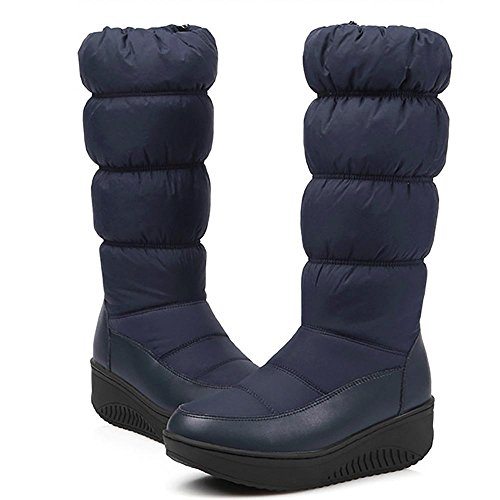 Boots sole boots blue SHANGXIAN lined Waterproof Boots resistant Women's Snow Knee slip with wxZZPICq