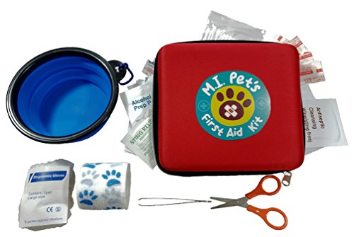 (M.I. Pet's - 76 Piece Pet First Aid Kit with a Collapsible Food or Water Bowl)