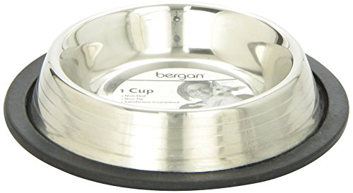 Bergan Stainless Steel Bowl w Ridges, Heavy Duty Non-Skid, 1 Cup (Bowl Cup 1 Dog)