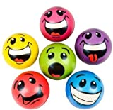 """Bright Colored Smile Funny Face Stress Ball - Silly Goofy Face Stress Balls Bulk Pack of 12 Relaxable 2.5"""" Stress Relief Goofy Smile Squeeze Balls Fun Toys Christmas Stocking Stuffer"""