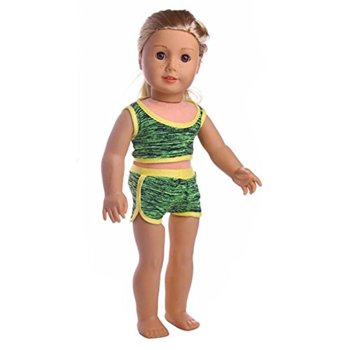 CYCTECH Doll Clothes Set Handmade Trendy Swimwear Swimsuit Outfits Fits 18 inch Generation American Girl Dolls (Green)