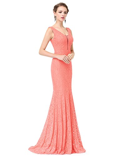 Ever-Pretty Womens Floor Length Sleeveless Sexy Double V-Neck Military Ball Dress 4 US Peach
