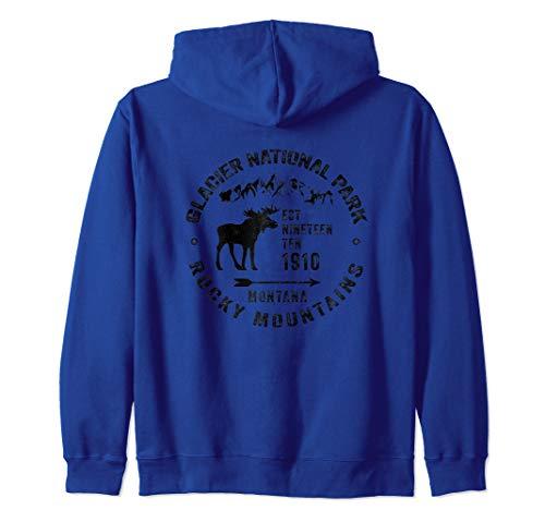 Mt Moose - Glacier National Park Montana MT Rocky Mountains Moose Gift Zip Hoodie