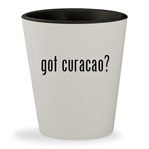 Bols Curacao Orange Liqueur (got curacao? - White Outer & Black Inner Ceramic 1.5oz Shot Glass)