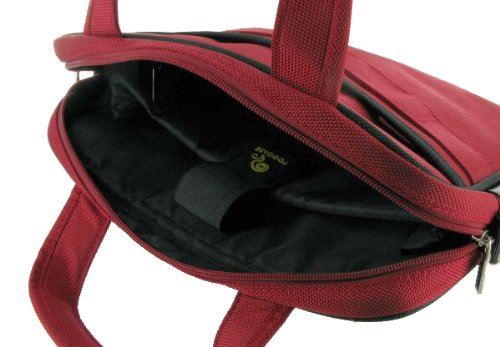 rooCASE Netbook / iPad Carrying Bag for HP Mini 110-3510NR 10.1-Inch Netbook Black - Deluxe Series Red / Black
