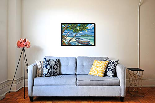 Paint by Numbers for Adults Beginners Kids DIY Acrylic Oil Painting by Number Kits On Canvas Coconut Tree Beach Home Decoration Christmas Wall Arts Craft Paintwork Drawing 16X20inch with 4 Brushes