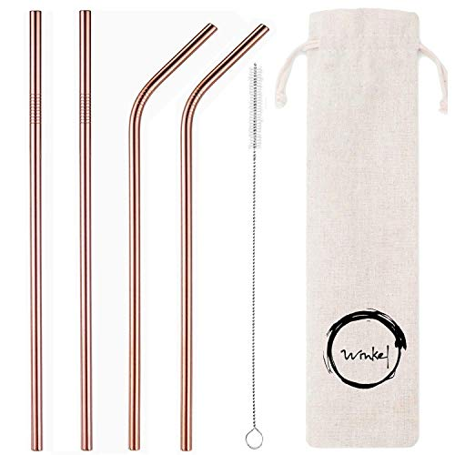 House of Quirk Winkel Stainless Steel Straws Ultra Long Reusable Drinking Metal Straw for Tumblers Rumblers Cold Beverage, 8.5 Inch (Rose Gold) – Set of 4 Price & Reviews