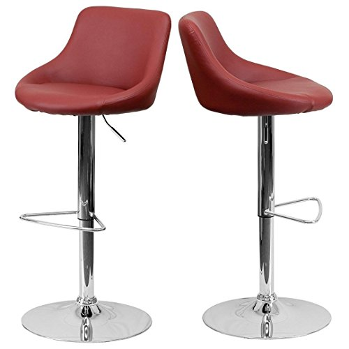 - Modern Design Bar Stool Bucket Seat Design Hydraulic Adjustable Height 360-Degree Swivel Seat Sturdy Steel Frame Chrome Base Dining Chair Bar Pub Stool Home Office Furniture - Set of 2 Burgundy #1985